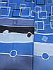 Бязь с синими квадратами, полосами и кругами