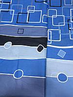 Бязь с синими квадратами, полосами и кругами, фото 1