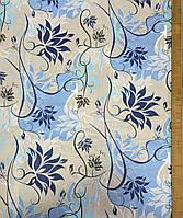 Бязь с листочками на бежевом и голубом фоне, фото 1