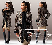 Пальто короткое с леопардовым принтом и отделкой мехом 074 Норма! (НР)