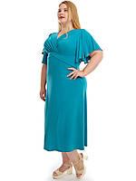 Женское  Летнее Голубое Платье больших размеров арт 772 (48-74)