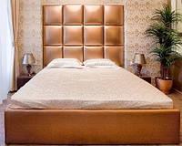 Двоспальне Ліжко Alice 160*200 з м'яким узголів'ям у формі квадратів на замовлення в Одесі, фото 1