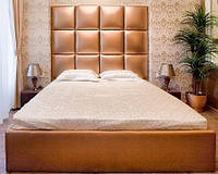 Двоспальне Ліжко Alice 160*200 з м'яким узголів'ям у формі квадратів на замовлення в Одесі