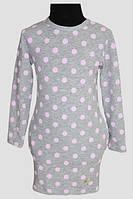 Туніка-сукня для дівчинки Elka 1914 сірий рожевий горошок