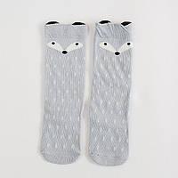 Детские высокие носки, гольфы  Лисичка серая