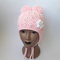Детская вязаная шапка на флисе для девочки 5-8 лет оптом