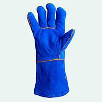 Перчатки  Doloni спилок (синие с подкладкой)