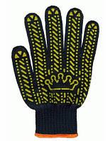 Перчатки рабочие с ПВХ Корона (черные)