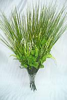 Ножка букетная на 10 голов зел. золото травка, 40 см
