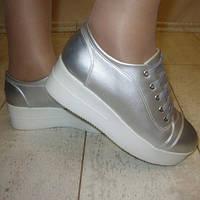 Туфли на платформе серебро