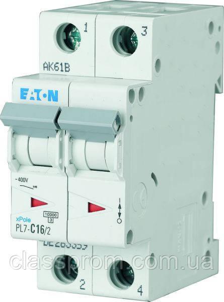 Автоматичний вимикач 2-полюс. PL7-C63/2 EATON