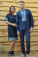 Мужская вышиванка и женское платье с идентичными узорами
