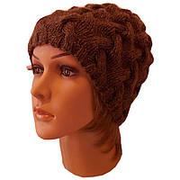 Женская вязаная шапка в стиле Лало, объемной крупной вязки косами.