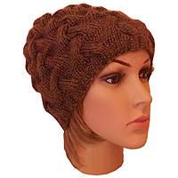 Женская вязаная шапка с утеплением, в стиле Лало, объемной крупной вязки косами.