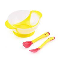 Набор посуды для первого прикорма малышей Желтый ложка+вилка