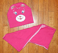 Детские комплекты Ведмежатко шапка+хомут розовые