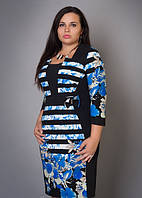 Стильное женское батальное платье электрик