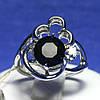 Серебряное кольцо с сапфиром и фианитом R9