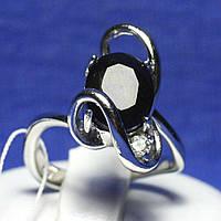 Кольцо с сапфиром серебро и фианитом R14