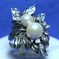 Кольцо серебро с жемчугом 1683, фото 1