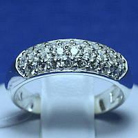 Женское обручальное кольцо из серебра с камнями 4704-р