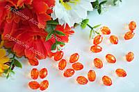 Бусины овальные оранж 7мм*1см