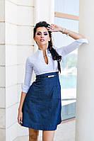 Платье джинсовое с белым верхом