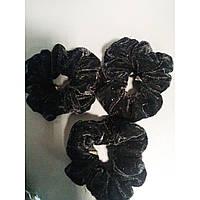 Резинка для волос  бархатная черная