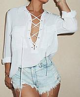 Женская блуза  на шнурке с длинным рукавом
