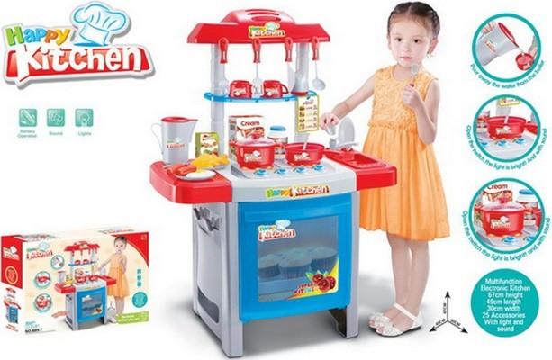 """Детская кухня 889-7 """"Happy Kitchen"""" звук,свет., 25 предметов"""