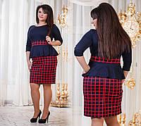 Платье женское с баской красная клетка р.50,52,54,56