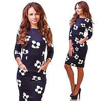 Женское облегающее платье ниже колена, фото 1