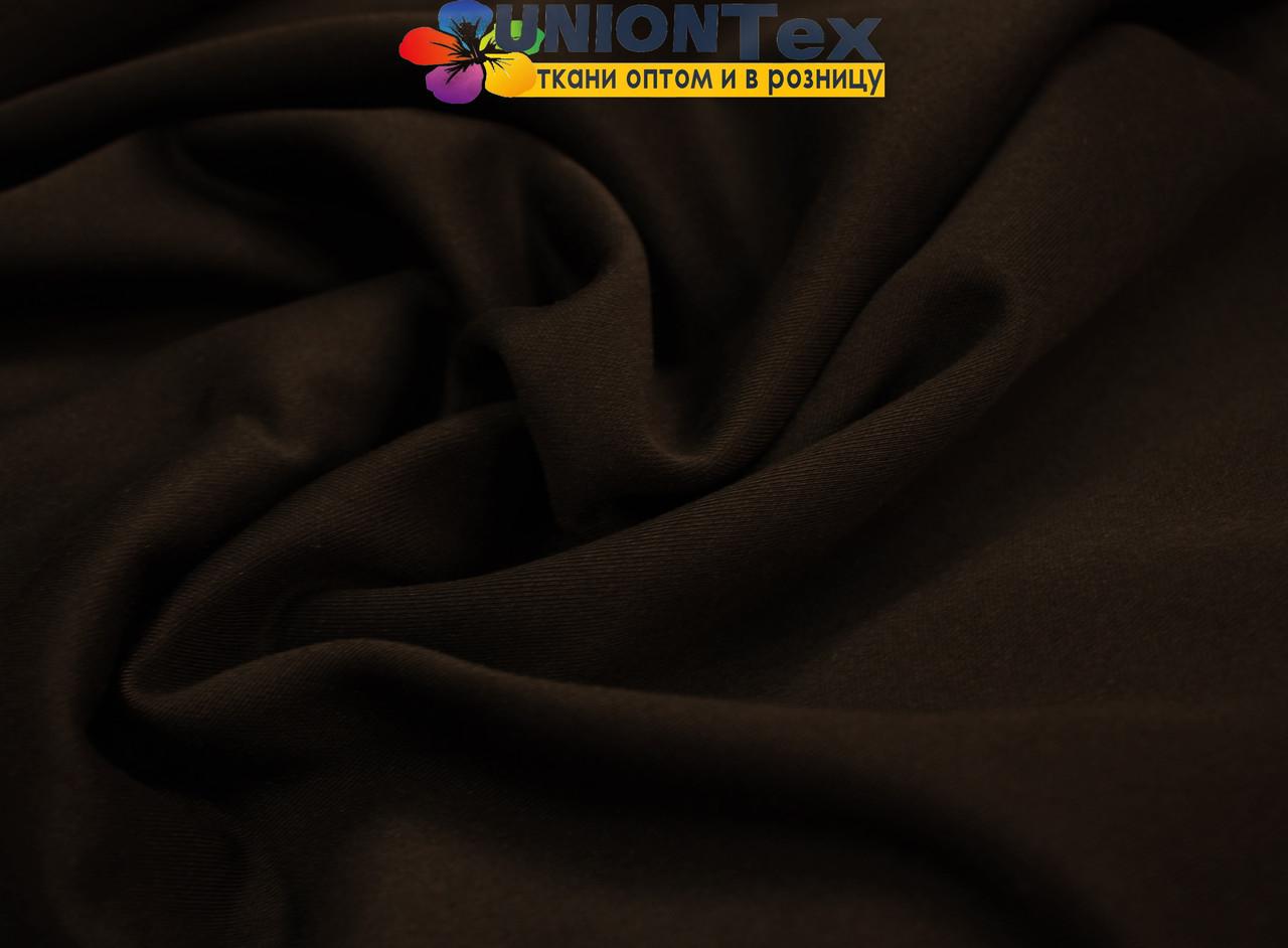 Трикотаж дайвинг с начесом темно- коричневый