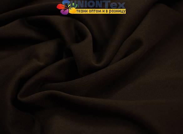 Трикотаж дайвинг с начесом темно- коричневый, фото 2
