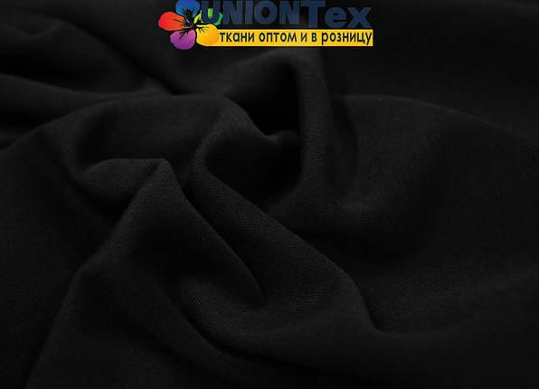 Трикотаж дайвинг с начесом черный, фото 2