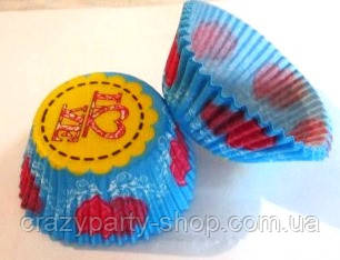Форма для маффин голубая с сердечками
