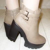 Ботинки Две пряжки бежевые