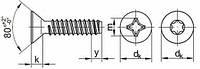 DIN 7982(ГОСТ 10619 - 80, ISO 7050) Винт самонарезающий с потайной головкой (крестообразный шлиц)