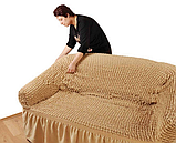 Чехол натяжной на 3-х местный диван MILANO горчичный (Турция), фото 4