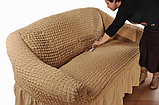 Чехол натяжной на 3-х местный диван MILANO горчичный (Турция), фото 6