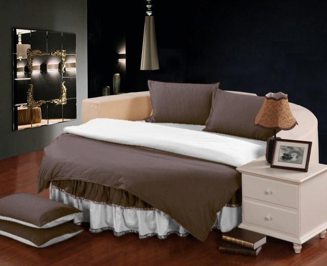 Комплект постельного белья с цельной простынью - подзором на Круглую кровать Порох + Белый