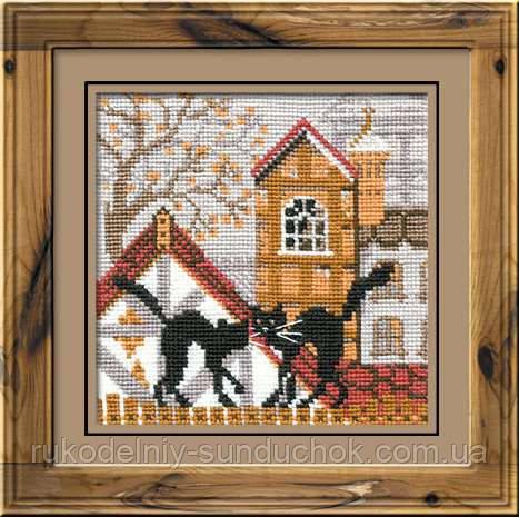Набор для вышивания крестом «Город и кошки. Осень» (613), Риолис