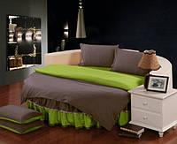 Круглая кровать. Комплект постельного белья с цельной простынью - подзором Порох + Салатовый