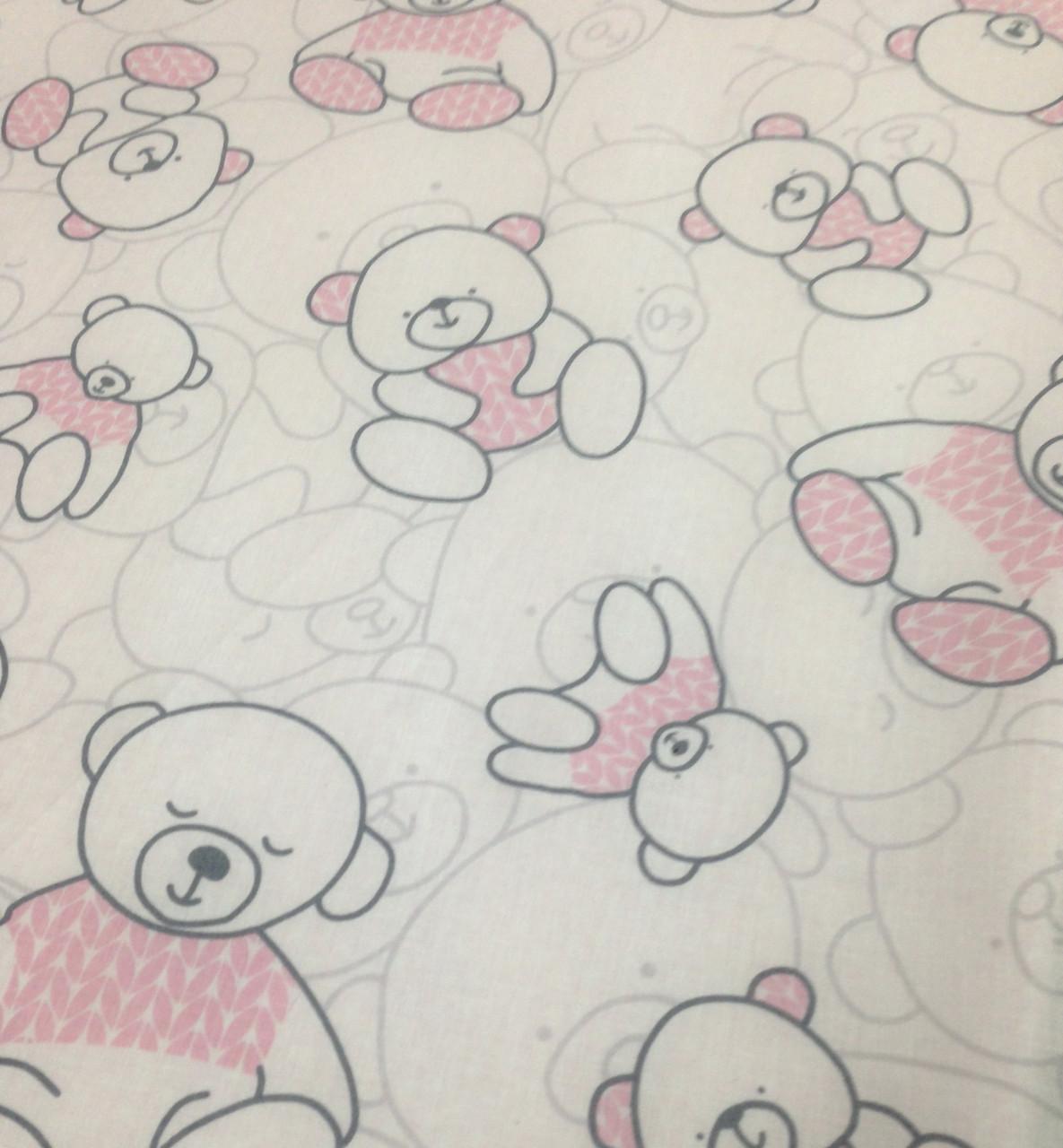 Бавовняна тканина польська ведмедики в рожевому светрі
