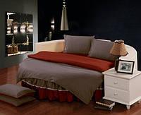 Комплект постельного белья с цельной простынью - подзором на Круглую кровать Порох + Винный