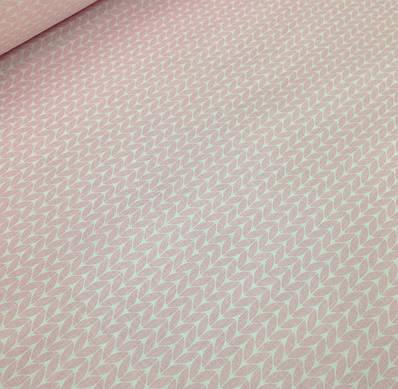Хлопковая бязь ЛЮКС польская косички розовые №49