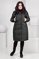 Теплое зимнее пальто пуховик с мехом мутона. 50-60 размеры