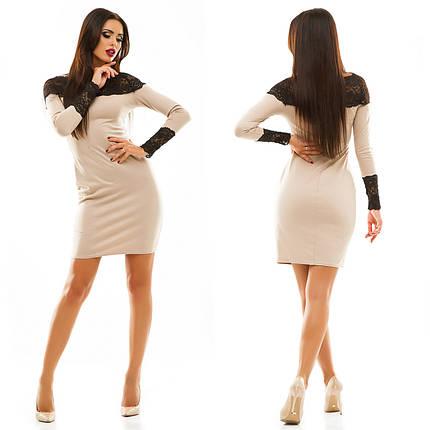 Трикотажное платье с кружевом, фото 2