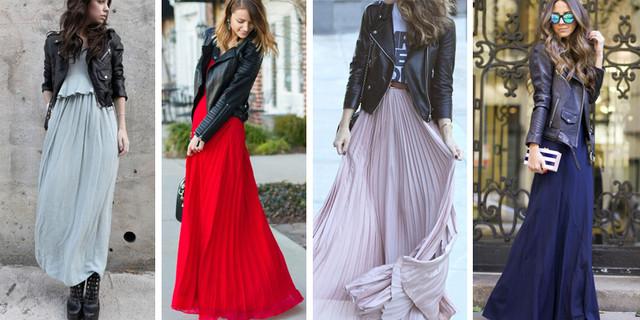 кожаная куртка с длинным платьем