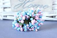 """Добавка """"сложные тычинки крупные микс """" 10-12 шт/уп цвета """"голубой + розовый"""""""